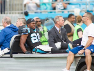 Carolina Panthers cornerback Bene' Benwikere suffers leg injury.